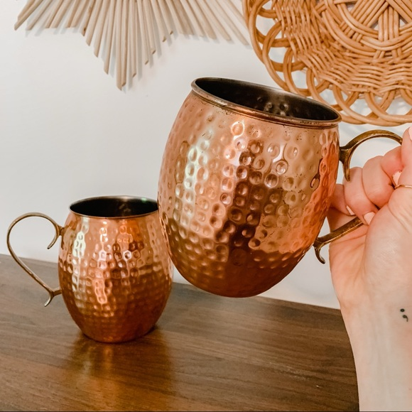Pair of Vintage Copper Oversized Mule Pitcher Mugs